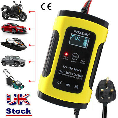 Car Battery Charger Automobile Motorcycle Intelligent Pulse Repair 12V 5A LCD UK
