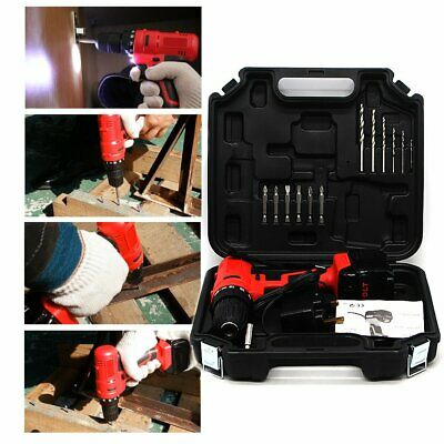18V Cordless Drill Driver Electric Screwdriver Led Worklight 13 Bits Carry Case