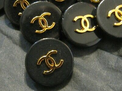 CHANEL 10 VINTAGE BLACK gold CC 16 MM DRESS BUTTONS THIS IS FOR TEN STAMPED