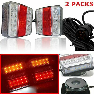 2pc Magnetic TRAILER LIGHT BOARD EXTENSION CABLE LEAD 7 PIN Caravn Towing Lamp