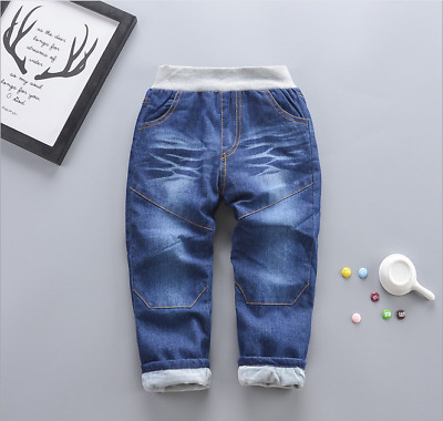 Toddler Boys Winter Add Wool Bottoms Child Thicken Jeans Casual Trousers Pants