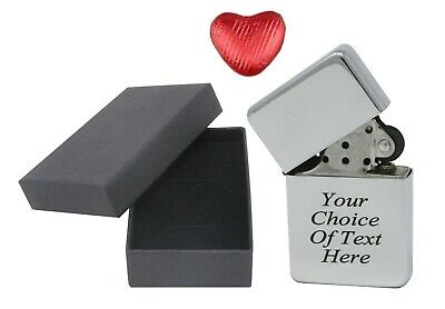 Engraved Personalised Chrome Star Lighter Ideal Birthday Present + Box + Choc