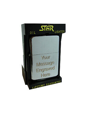 Christmas Present Personalised Engraved Chrome Lighter Xmas Gift + Star Stand