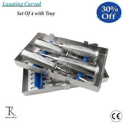 Dental Tooth Extracting Cassette Of Root Luxation Luxating Elevators Curved Set