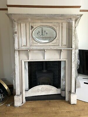 Old  Victorian Edwardian Pine Fireplace Fire Surround Mantel With Mirror
