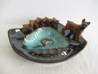 Mid Century Retro Ashtray with Mother Boxer & Puppies - Red Ware Ceramic Ashtray