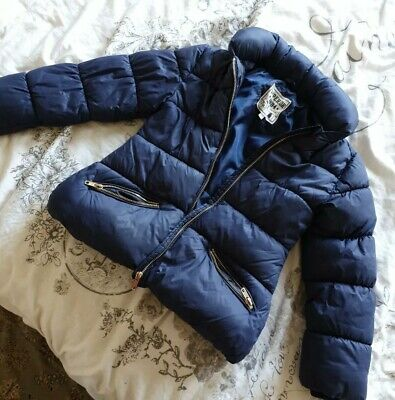 Marks And Spencers Navy Blue Puffer Jacket Kids Size 7-8 Years