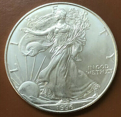 1996 American Silver Eagle BU One 1 Troy Ounce .999 Uncirculated Coin - TCC