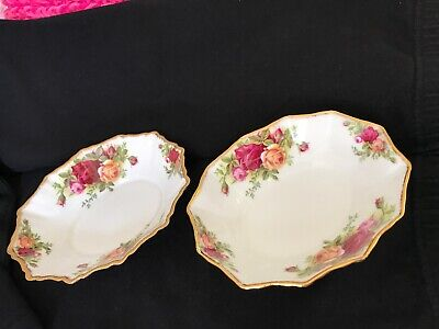 "2 Royal Albert Old Country Roses 6"" Oval Candy Nut Trinket Dish Bowl 62 England"