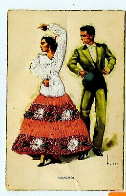 VINTAGE POSTCARD ~ PANADEROS ~ Embroidered Clothing ~ Artist TUSER