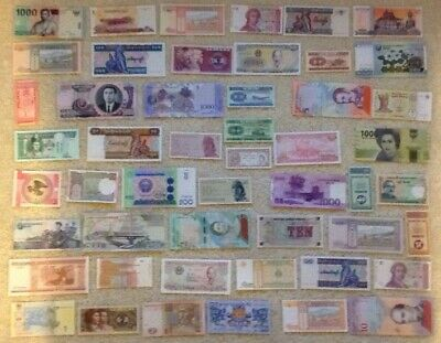 Assortment Of 50 X Banknotes. Worldwide Lot. All Different Collection. Unc Set.