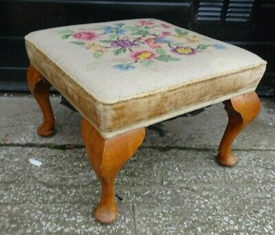 Antique Tapestry Upholstered Footstool Queen Anne Legs