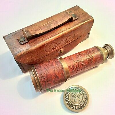 Antique Brass Telescope Vintage Brown Leather Box Maritime Collectible