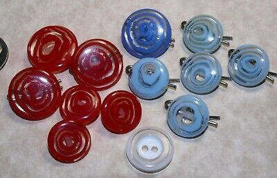 Vintage Lucite Acrylic Resin Buttons Swirl Design