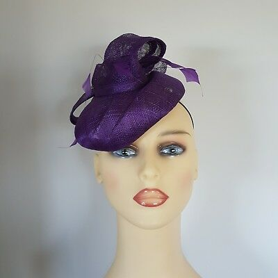 Bridal Wedding Formal Fascinator Hat Vibrant Purple Diamond/  Feather Failsworth