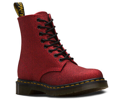 Ladies Dr Martens 1460 8 Eyelet Pascal Red Glitter Boots UK 4 - 7 Doc Martens