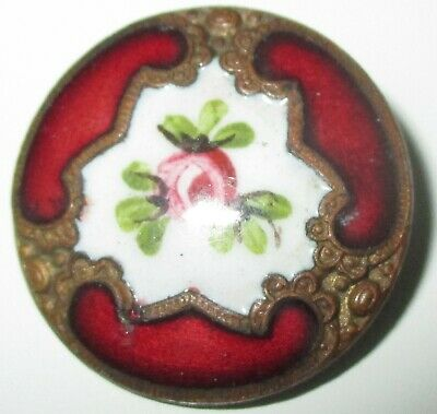 ANTIQUE FRENCH ENAMEL BUTTON - FLOWERS & CHAMPLEVE w ROCOCO GILT FLORAL DESIGN
