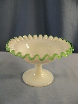 Fenton Milk Glass Green Emerald Crest Footed Sherbet