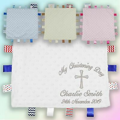 My Christening Day Embroidered Baby Dimple Taggy Gift Blanket Personalised