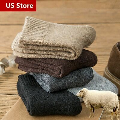 Pair Men Merino Wool Cashmere Socks Solid Cushioned Thermal Thick Casual Winter
