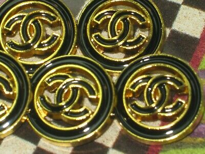 CHANEL  5 CC  LOGO BLACK, MATTE GOLD  20mm BUTTONS THIS IS FOR 5