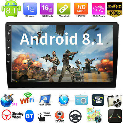 Double 2DIN Android 8.1 Car Stereo MP5 Player GPS WiFi BT Speed Display FM Radio