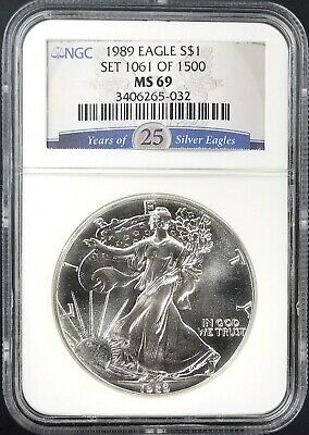 1989 American Silver Eagle graded MS 69 by NGC! NO RESERVE!