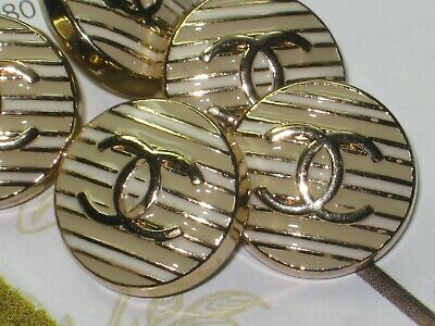 CHANEL  5 CC  LOGO beige green, MATTE GOLD  16mm BUTTONS THIS IS FOR 5
