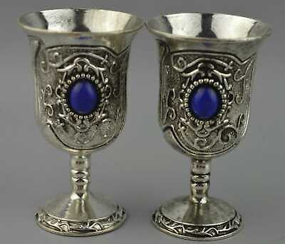Collection Handwork Decor Miao Silver Carve Flower Inlay Agate One Pair Wine Cup