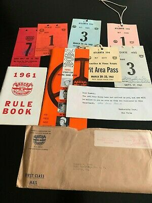 Historic 1961 NASCAR Yearbook, Rules Book, passes, notes & more