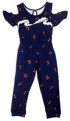 One Step Up Girls Blue Cherry Pattern Knit Romper Jumpsuit -Toddler