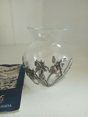 Seagull pewter daffodil glass vase 1992 signed pewter