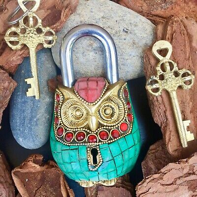 Owl Padlock Solid Brass working lock Turquoise vintage Bronze metal security key