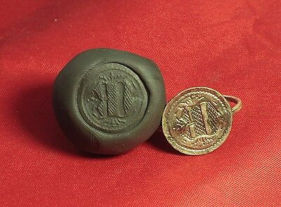 """Medieval Knight's Silver Seal Ring - """"D"""" Character Seal, 11. Century"""