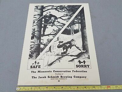 1950's Schmidt Beer Brewing Co. Mn Conservation Hunters Safety Poster Sign Lot3