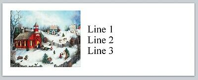Personalized Address labels Snowy Christmas Barn Buy 3 get 1 Free jx 73