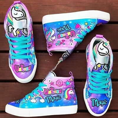 Madmia Unicorn Hi Top Girls & Ladies Shoes 11AU-7.5AU | Graphic Skater Sneakers
