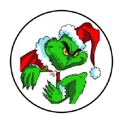 "48 Christmas Grinch!! Sticker Label Envelope Seals 1.2"" Round"