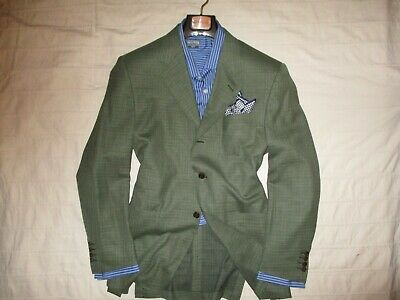 CANALI Men's Green Notch Lapel Three Button 100% Wool Suit Blazer- 40R