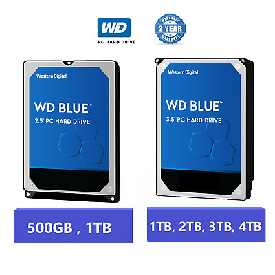 WD Blue 2.5in/3.5in Internal Desktop Hard Drive 500gb/1TB/2TB/3TB/4TB 2 YEARS