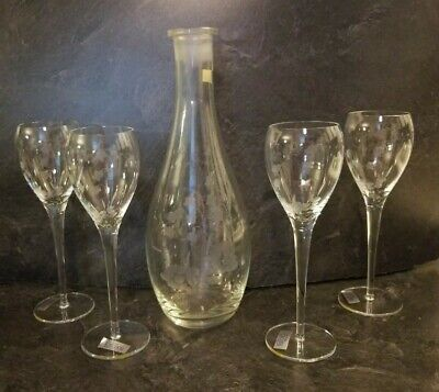 TOSCANY  HAND BLOWN ETCHED DECANTER with Stem Wine Glasses Goble ROMANIA glass