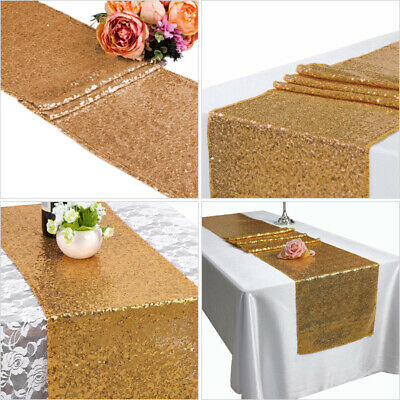 Glitter Sequin Table Runner Sparkly Wedding Party Decor 30 x 180cm Gold/Silver