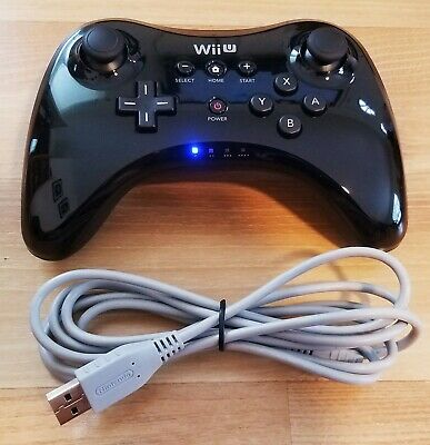 Official Nintendo Wii U Pro Controller Black with OEM Charging Cable WUP-005
