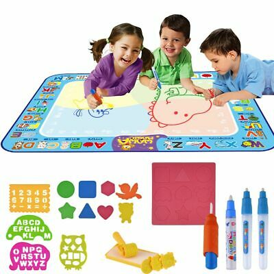 Kids Doodle Water Painting Drawing Mat Board Magic 3Pens Toy Xmas Gift 75*100cm