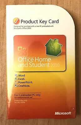 New MS Microsoft Office 2010 Home and Student Product Key Card Sealed