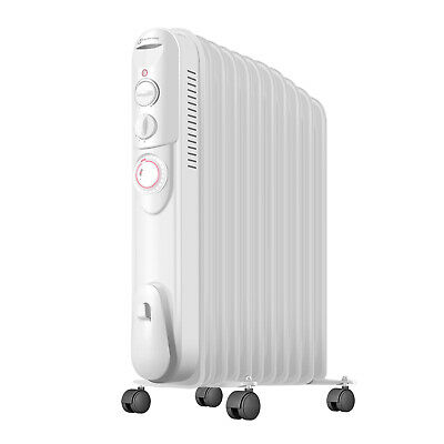 3KW 11 Fin Oil Filled Radiator Portable Electric Heater Thermostat with Timer