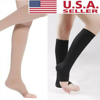 18-21mmHg Men Women Compression Socks-Knee High Support Stockings Open Toe S-XL