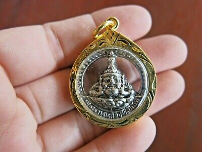 Phra Rahu Amulet Silver Pendant Thai Buddha Magic Old Ancient Giant  Moon God
