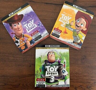 Disney Toy Story Trilogy 4K Ultra HD +Blu-Ray+ Digital Code 1 2 3 with Slipcover