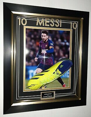 Lionel Messi of Barcelona Signed Football Boot Autographed Display AFTAL DEALER